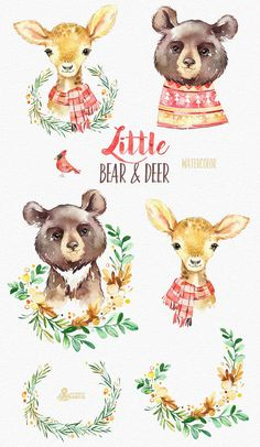 This Little Bear & Deer set of 8 high quality hand painted watercolor images. Perfect graphic for christmas holiday, wedding invitations, greeting cards, photos, posters, quotes and more. ----------------------------------------------------------------- This listing includes: 8 x Images
