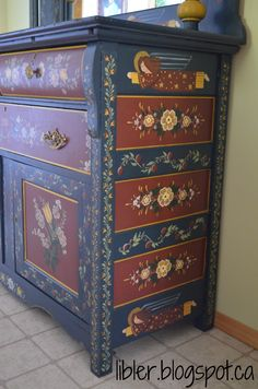 folk art painted buffet