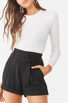 A pair of textured woven shorts featuring a removable sash belt with covered D-ring buckle, partially elasticized high-rise waist, front slanted pockets, cuffed hem, and a relaxed fit. - This is an independent brand and not a Forever 21 branded item. Belted Shorts Outfits, High Waisted Shorts Outfit, Black Shorts Outfit, Summer Shorts Outfits, Short Outfits, Casual Outfits, Outfit Summer, Diy Shorts, Sweater And Shorts