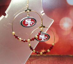 San Francisco 49ers Hoop Earrings by joolrylane on Etsy, $27.00. I want these!