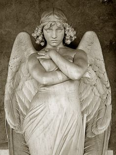 The Angel by Giulio Monteverde, Giulio Monteverde and family grave, Verano Monumental Cemetery, Rome, Italy  Sculptures are so pretty to look at