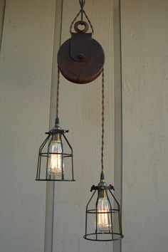 Farm Pulley Lighting ..now this would go perfect !!