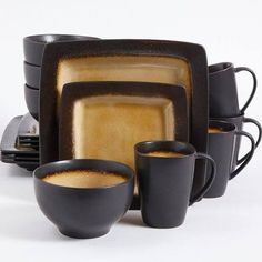Dine in style with the Gibson Ocean Paradise Amber Dinnerware Set. This durable set features a beautiful finish that is sure to enhance the look of any ... & NEW 16 pc dinnerware set jade green black square dishes creamic ...
