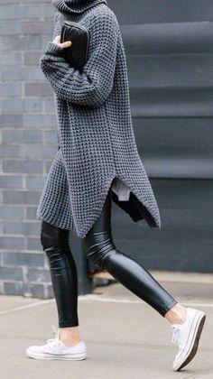 #street #style / oversized gray knit + leather
