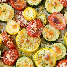 Roasted Garlic-Parmesan Zucchini, Squash and Tomatoes. Roasted Garlic-Parmesan Zucchini, Squash and Tomatoes Recipes Cuisine : Recipe Yields : Prep time : – Keywords : , Ingredients 2 small zucc. Side Dish Recipes, Veggie Recipes, Vegetarian Recipes, Cooking Recipes, Healthy Recipes, Dishes Recipes, Recipies, Spinach Recipes, Roasted Zucchini Recipes