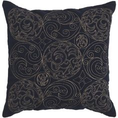 Medieval Circle Scroll Black And Parchment Decorative Throw Pillow - #Gothic
