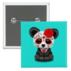 #Red Day of the Dead Panda Cub Button - #halloween #party #stuff #allhalloween All Hallows' Eve All Saints' Eve #Kids & #Adaults