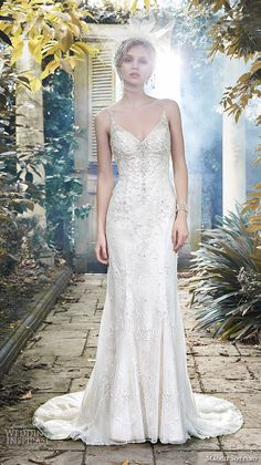 maggie sottero fall 2015 wedding dresses beautiful sheath gown spagetti strap v neckline pearl beaded bodice miela