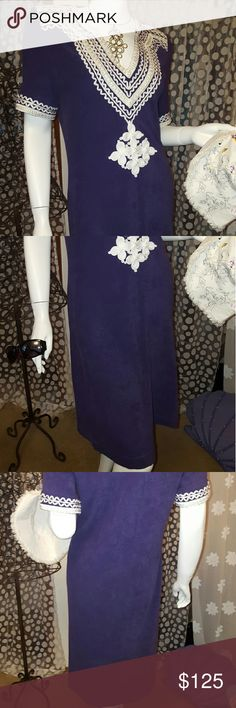"""Tory Burch terrycloth Tory Burch, purple, 100% cotton terrycloth with white scrolling applique, subtle sensuous tunic style, about 41"""" from back of neck to hem, sadly an oversized gift to me, NWOT. Tory Burch Dresses"""
