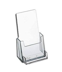 Source One Premium Counter Top Acrylic Clear Brochure Holder with Business Card Holder 4 Inch Wide (S1-CT-TRIWBC) SourceOne