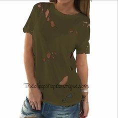 32740aeab5 Holes Blouse Short Sleeve Tunika, Oberteile, T Shirt Damen, Bekleidung,  Bluse,