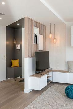 Living Room Partition Design, Room Partition Designs, Home Entrance Decor, Home Decor, House Architecture Styles, Halls, Apartment Entryway, Studio Apartment Decorating, Living Room Tv
