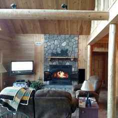 Nice and cozy.  www.wardcedarloghomes.com Next At Home, Sitting Area, Log Homes, Great Rooms, Cozy, House Design, Nice, Inspiration, Home Decor