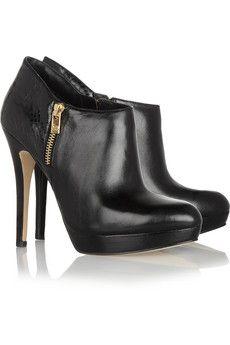 MICHAEL MICHAEL KORS York leather and python-effect boots