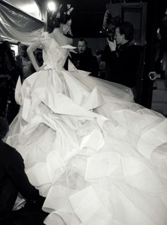 SHALOM HARLOW Origami Wedding Dress by JOHN GALLIANO for DIOR, backstage CD by John Galliano S 2007 Haure Couture fashion show