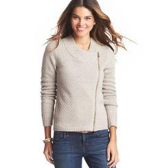 Textured Asymmetrical Zip Sweater Jacket