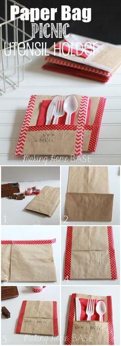 O que acha de montar uma bolsa com talheres e guardanapo para cada convidado?