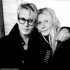 Loving embrace: (Johnny Depp)Gwyneth Paltrow posted this black and white snap of herself with Mortdecai. Young Johnny Depp, It's Johnny, Gwyneth Paltrow, Beyonce, Fangirl, Golden Globes After Party, Jonny Deep, Captain Jack Sparrow, Just Jared