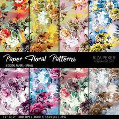 Seamless Floral Patterns  Digital Paper 8 Digital by rizapekerart #seamless #floral #print #pattern #camouflage #wallpaper #grunge