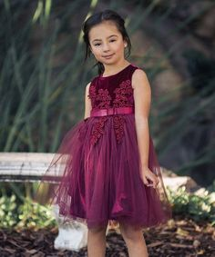 8b91892a9b23e Just Couture Wine Velvet Floral-Appliqué Adele A-Line Dress - Toddler &  Girls