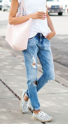 What to wear this spring: Ripped boyfriend jeans and espadrille flats