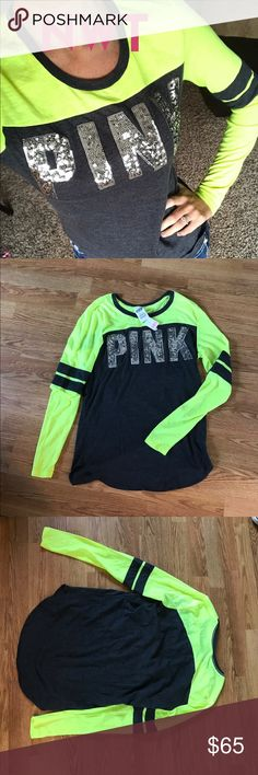 Pink Vs BLING Crew NEW with tags pink Victoria's Secret BLING sequins baseball style long sleeve Crewneck. Black, neon and silver.   Check out my other listings for Ultimate hoodies, rock Revivals, Nike windbreakers and more! PINK Victoria's Secret Tops Tees - Long Sleeve