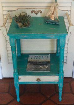 Vintage Blue Nightstand/Washstand 1930s