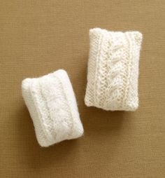 These soap cozies are an ingenious way to make your soap last longer. Simply sew a bar of soap inside, and the cozy felts as you use it. Since Fishermen's Wool comes in big skeins, you can make multiple cozies as a wonderful party (or even wedding) favor!