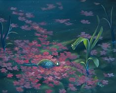 """ROB KAZ Petals - he is such a talented man; I have one of his giclees on order from the art auction on my recent cruise - can't wait to get it - Called """"StandOff"""" featuring Beau and another creature - whimsical and fun."""
