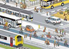 Trafik, otobüs, metro, yolcu, yaya: