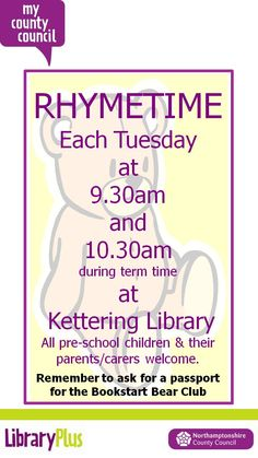 Term time Tuesday Rhymetimes at Kettering Library are back.