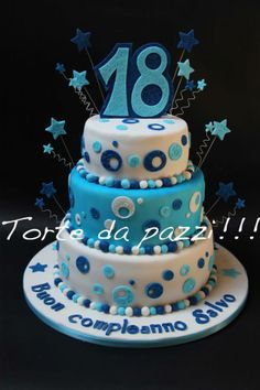birthday cakes 18 girl 18th Birthday Cake Blue Circles 2 Tier Eat