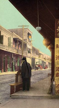 A street in L.A.'s old Chinatown, taken sometime between the years 1898 and 1905. The coloring of the B & W image was an early process known as Photochrom.  Bizarre Los Angeles.