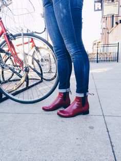 Custom @poppybarley Chelsea Boots in Ruby Red
