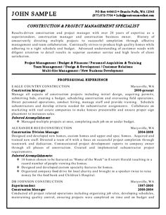 construction and project management specialist resume example - Project Management Resumes