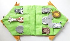 Finger Puppets, African Animals, felt, wild animals, reading, stories, Safari, teachers,kindergarten. $29.95, via Etsy.