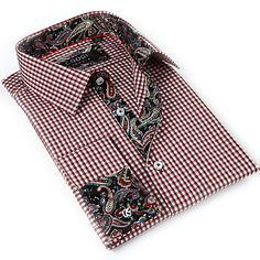 Coogi Luxe Men's White Red/ Paisley Button Down Dress Shirt - Overstock™ Shopping - Big Discounts on COOGI Dress Shirts