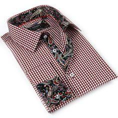 Coogi Luxe Men's White Red/ Paisley Button Down Dress Shirt - Overstock™ Shopping - Big Discounts on COOGI Dress Shirts