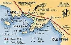 Map of Amalfi Coast, Italy.