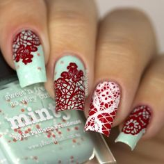 Here's a stamping plate you just can't resist with 12 floral lace designs to give your nails a very seductive look. Fabulous Nails, Gorgeous Nails, Mauve Nails, Picture Polish, Nail Stamping Plates, Colorful Nail Designs, Love Stamps, Lace Design, You Nailed It