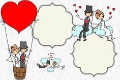 Wedding: Couple in Balloon Free Printable Invitations. Free Printable Invitations, Party Invitations, Wedding Labels, Wedding Cards, Free Wedding, Our Wedding, Wedding Illustration, Clinic Design, Flower Wallpaper