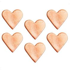Rose Gold Shimmering Hearts Sugar Decorations - Cake Decorations (Pack of Polka Dot Cakes, Pink Polka Dots, Or Rose, Rose Gold, Heart Wedding Cakes, Cake Accessories, Cake Decorating Supplies, Pink Blossom, Candle Stand