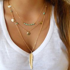Add an elegant Bohemian accent to any outfit with this multilayer necklace. Aside from the prominent feather pendant, the necklace is also designed with turquoise beads which can add a lively color ev