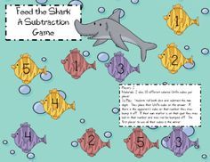 Feed the Shark Subtraction Game Mrs. Wills Kindergarten: Shark's Dinner-A Subtraction Game and a Give-Away
