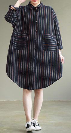 Women striped Cotton quilting dresses Women pattern big pockets daily spring DressesCustom make service available! Mode Batik, Plus Size Ivory Dresses, Batik Fashion, Style Minimaliste, Spring Dresses Casual, Dress Clothes For Women, Daily Dress, Denim Shirt Dress, Minimal Fashion