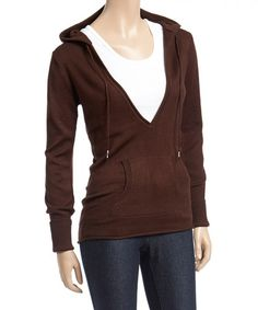 Love this Coffee Deep V-Neck Hoodie on #zulily! #zulilyfinds