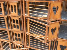 Empty racing pigeon cages - by Farl