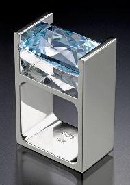 Trisko Jewelry Sculptures, Ltd.     14kt white gold design with a rectangular shaped Blue Topaz