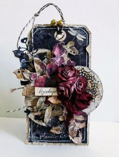From Dorota Kopec in Stalowa Wola, Podkarpackie, southeastern Poland. Card Tags, Gift Tags, Mixed Media Cards, Shabby Chic Cards, Handmade Tags, Paper Tags, Vintage Tags, Artist Trading Cards, Card Maker