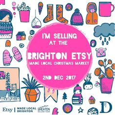Soooo happy and excited to be selling at the @brightonetsy Christmas fair again this year!!! Put it in your diary people so many magnificent makers selling their wonderful wares. Awesome poster by the lovely @mooshpie